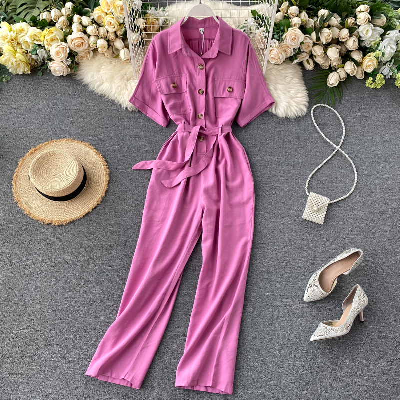 Jumpsuits 2020 Summer Tooling Overalls Female Lapel Short Sleeve Loose Leisure Womens High-Waisted Jumpsuits & Rompers Summer