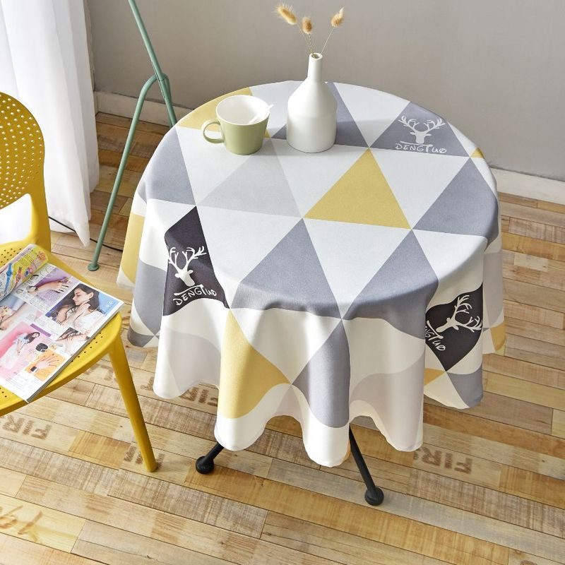 Nordic Style Round Tablecloth Simple Waterproof Restaurant Hotel Household Round Table Cloth Printing Plaid