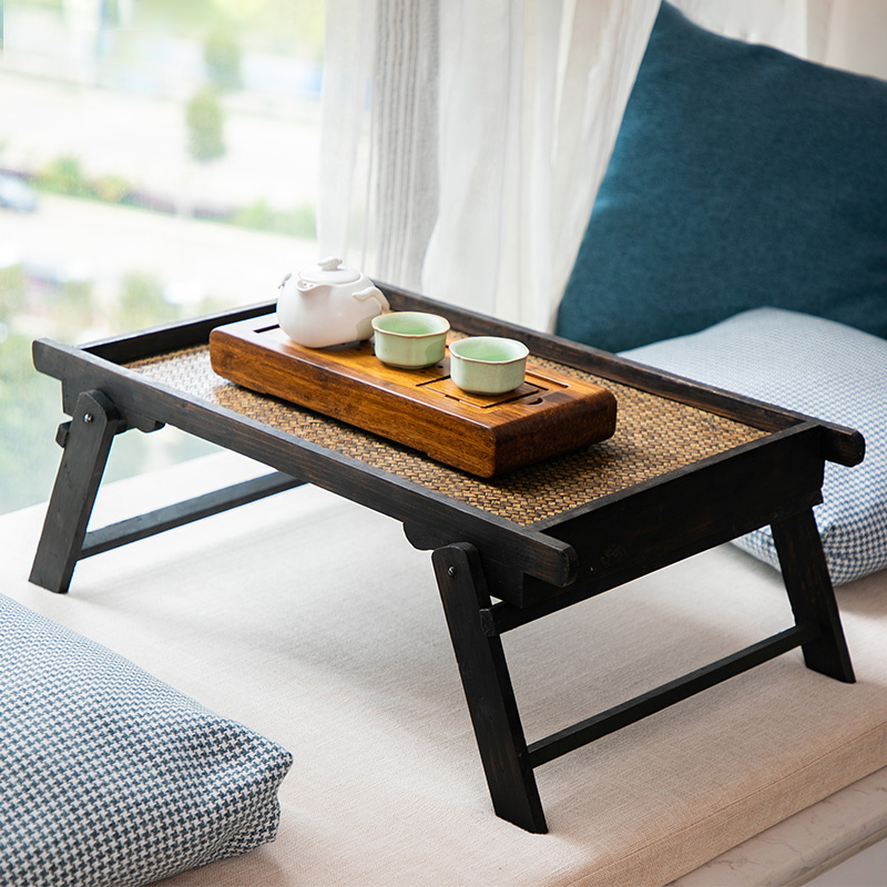 Japanese Household Folding Low Table Bay Window Small Tea Table Tatami Table Retro Table Solid Wood Tea Table