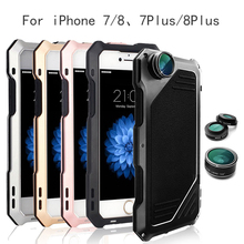 цена на Phone Case Cover Protector+Camera Lens 4 in 1 Fisheye Wide Angle Macro Lens For iPhone 7/7Plus 8/8Plus 15 Telescope Zoom Lenses