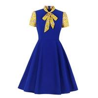 Summer Short Sleeve Blue Office Dress African Bow Tie Color Block Women Work Wear A Line Vestidos Midi Retro Dress Elegant