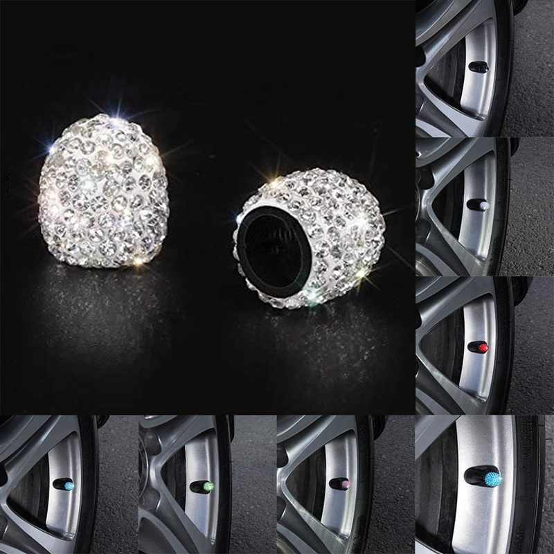 4PCS/Lot Car Styling Accessories Soft Clay Rhinestone Car Tire Valve Caps Shining Crystal Dustproof Caps for Women Bling Car 1