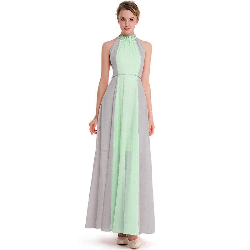 Women Boho Summer New Dress Two Color Patchwork Chiffon Dress Bohemian Sleeveless One Shoulder Ankle-Length Dress