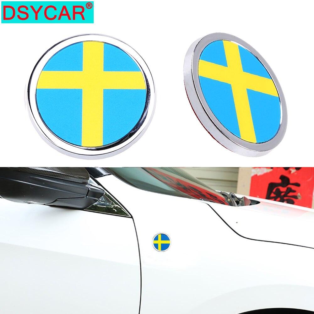 DSYCAR – autocollant drapeau National suédoise en métal 3D, Mini emblème rond pour Volvo Ford Audi Benz Honda Nissan VW BMW Dodge Hyundai LADA