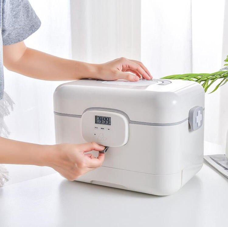 Household medicine storage box with alarm timer reminder intelligent portable Drug box seal dustproof pill organizer box