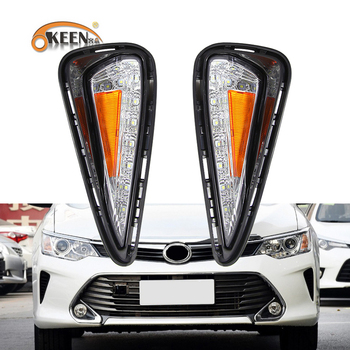 OKEEN Car drl For Toyota Camry 2015 2016 LED Daytime Running Light Fog Lamp Turn signal Cover DRL With Dimming Functions Relay
