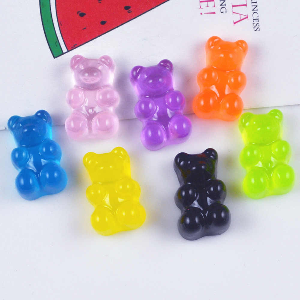10 unids/lote 11,17mm resina oso caramelo dulce cabujón comida de imitación suministros de arte, de decoración encanto artesanal