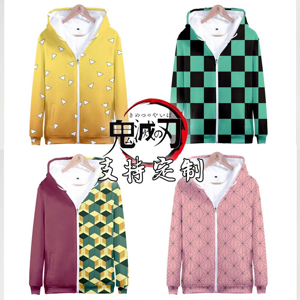 Anime Demon Slayer: Kimetsu No Yaiba Hoodie Sweatshirts Women Men Coat Zipper Pollover