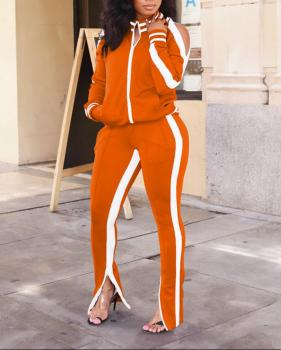 2020 Autumn Winter Ladies Casual Sportswear Zipper Striped Patchwork Tracksuit Women Long Sleeve Fitness Suit For Female XXL female costume emberens 4217 striped handsome casual with belt autumn winter российское production delivery from russia