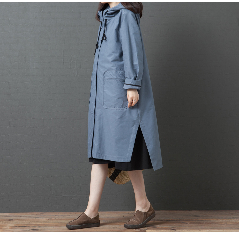 Korean-style Loose And Plus-sized Casual Long Sleeve Hooded Large Pocket Mid-length Trench Coat Women's
