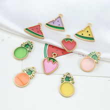 2018 wholesale korean style cute alloy watermelon strawberry pineapple radish fruit earrings for women diy jewelry accessories