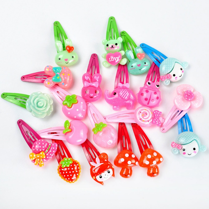 20PCS/Lot Mixed Colors Cute Cartoon Fruits Animal Rabbit Flowers Hairpin BB Hair Clips For Baby Girls Kids Hair Accessories