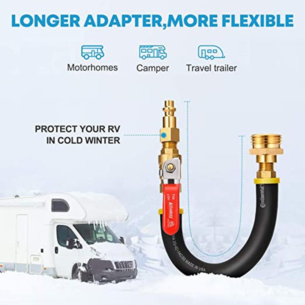 RV Sprinkler Nozzle Adapter Blower Adapter Hose Joint Antifreeze Kit Set With Shut-Off Valve Car Modification Accessories enlarge