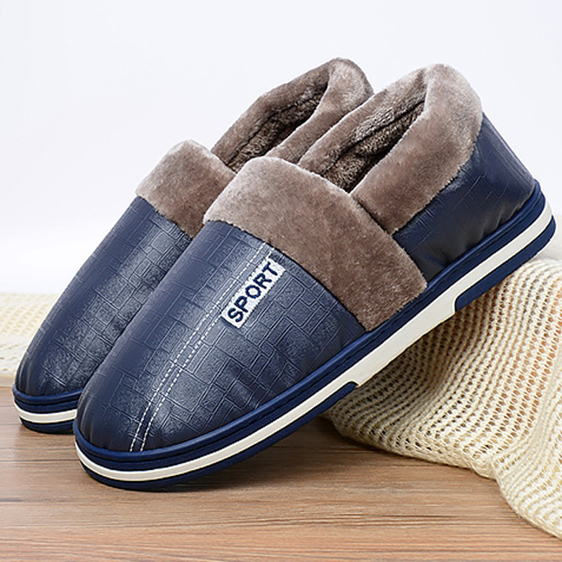 Men's Slippers Winter Big Size 46-51 PU Leather Indoor Shoes For Male Keep Warm Antiskid Cozy Short Plush Home Slippers Men