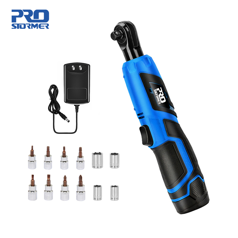 """12V 3//8/"""" Electric Cordless Ratchet Right Angle Wrench Tool Tighten Remover Nuts"""