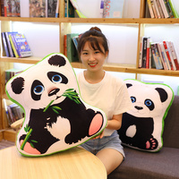 1pc Cartoon Panda Plush Stuffed Animal Toys Infant Soft Cute Lovely Doll Present Black and White Panda with Bamboo Leaves doll