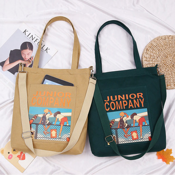 2021 Women's Canvas Bag Shopper With Anime Wallet Zipper Shoulder Bag for Girls Female Crossbody Tote Bag Designer Brand Handbag 1