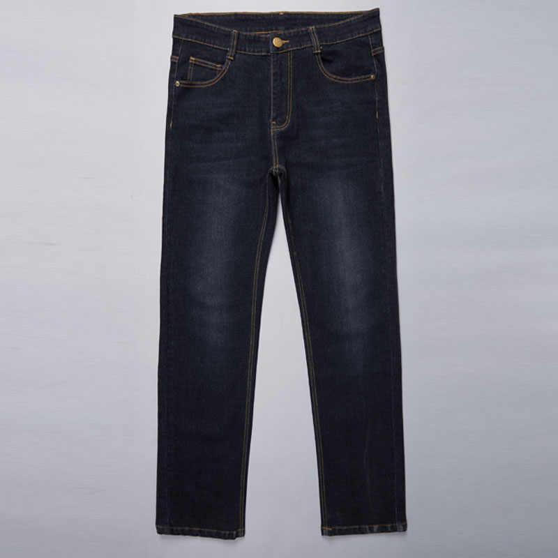 Große Größe 28-50 Mann Jeans Hohe Stretch Gerade Lange Lose Hosen Fashion Casual Schwarz Blau Denim Männlichen Business jeanswear Hosen