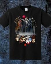 Horror Characters Friends IT Joker Pennywise Squad T Shirt Men Summer Style