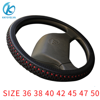 KKYSYELVA Leather+ Silk car Steering Wheel Covers for Car Bus Truck 36 38 40 42 45 47 50cm Diameter Auto Steering-wheel cover