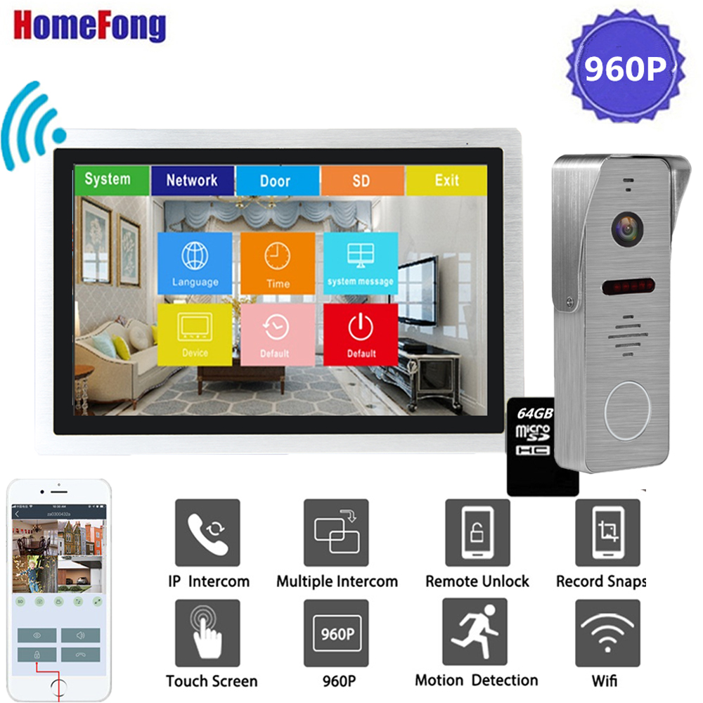 Homefong 10 Inch IP Video Intercom Wi-fi Video Door Phone Door Bell 960P Touch Screen Home Intercom System Waterproof Record