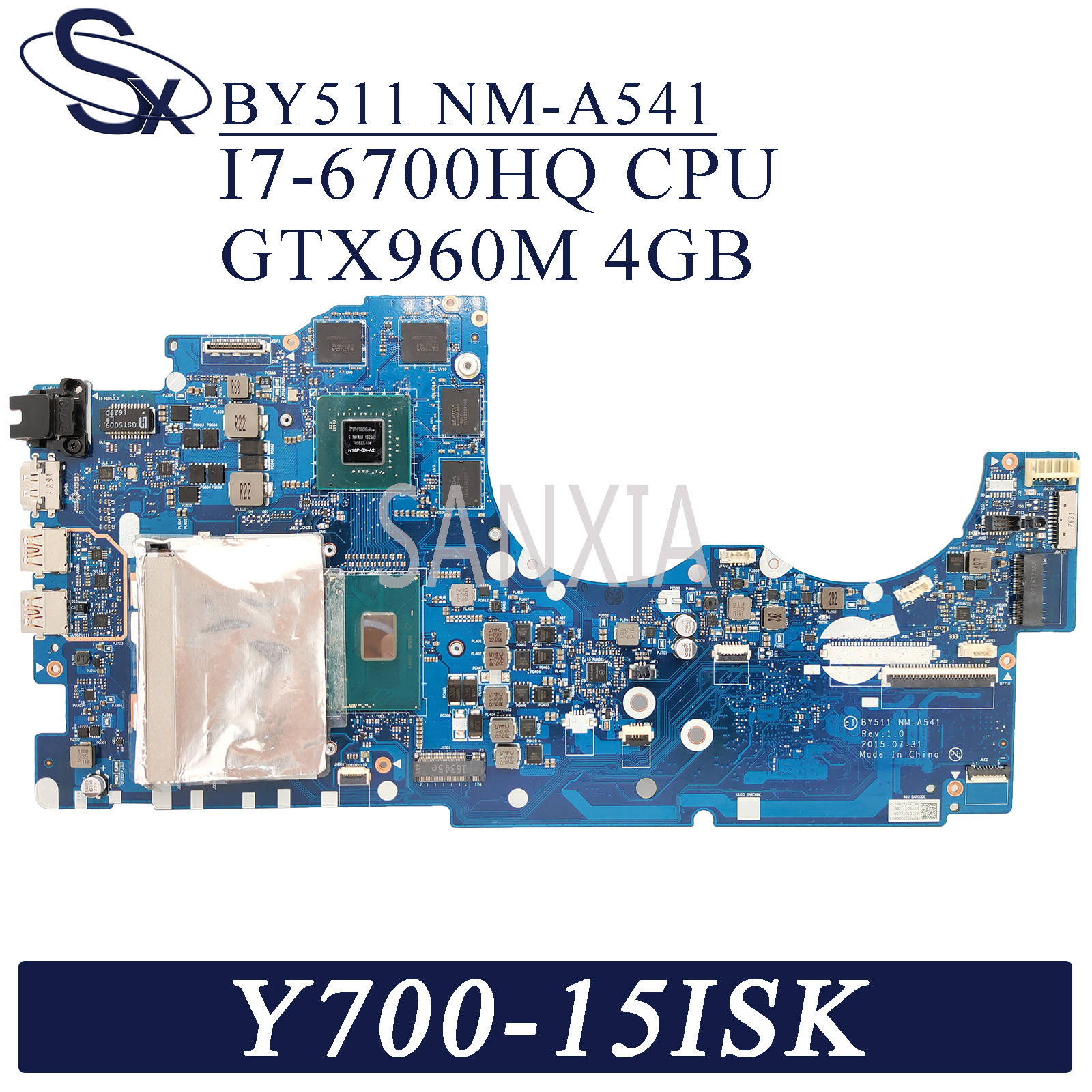 KEFU NM-A541 <font><b>Laptop</b></font> motherboard for <font><b>Lenovo</b></font> <font><b>Y700</b></font>-15ISK original mainboard HM170 I7-6700HQ GTX960M-4GB image