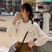 Blouses Shirts Collar Korean-Style White Femme Chic-Stylish Women New-Fashion Peter-Pan