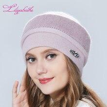Liliyabaihe kadın şapka kış şapka örme Angora yün süsler çift sıcak şapka