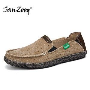 Image 1 - Sommer Casual Slip Auf Atmungsaktive Männer Leinwand Schuhe Espadrille Alpargatas Hombre Denim Deck Schuhe Mokassin Homme Herren Slip ons