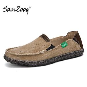 Image 1 - Summer Casual Slip On Breathable Men Canvas Shoes Espadrille Alpargatas Hombre Denim Deck Shoes Mocassin Homme Mens Slip ons