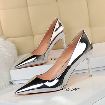 Fashion Women Patent Leather Shallow Thin High Heels Shoes Pointed Toe Gold Silver Heels Pumps Female Tacones Mujer Large Size