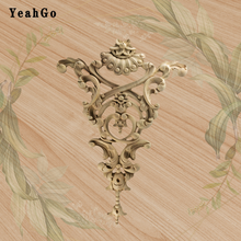 50cm�30cm Furniture cabinet door decals European-style decorative accessories Solid wood carving flower applique Home  ornaments