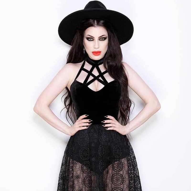 InsGoth Hollow OUT สีดำ Camis ผู้หญิงเสื้อเซ็กซี่เซ็กซี่โกธิค Pentagram Halter หญิง Backless Bodycon TANK Tops Streetwear