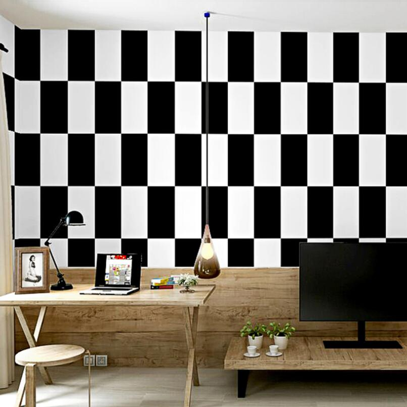 Ins Decor Black White Grid Wallpaper 3d Waterproof Pvc Living Room Bedroom Decoration Wallpapers Roll Project Wall Decals Qz152 Wallpapers Aliexpress