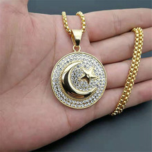 Muslim Crescent Moon and Star Pendant Stainless Steel Round Necklace Hip Hop Iced Out Women Men Islamic Jewelry Dropshipping