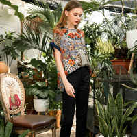 2019 summer Women T shirt 100% silk O neck loose plus size print vintage comfort Soft girl t shirt top n45