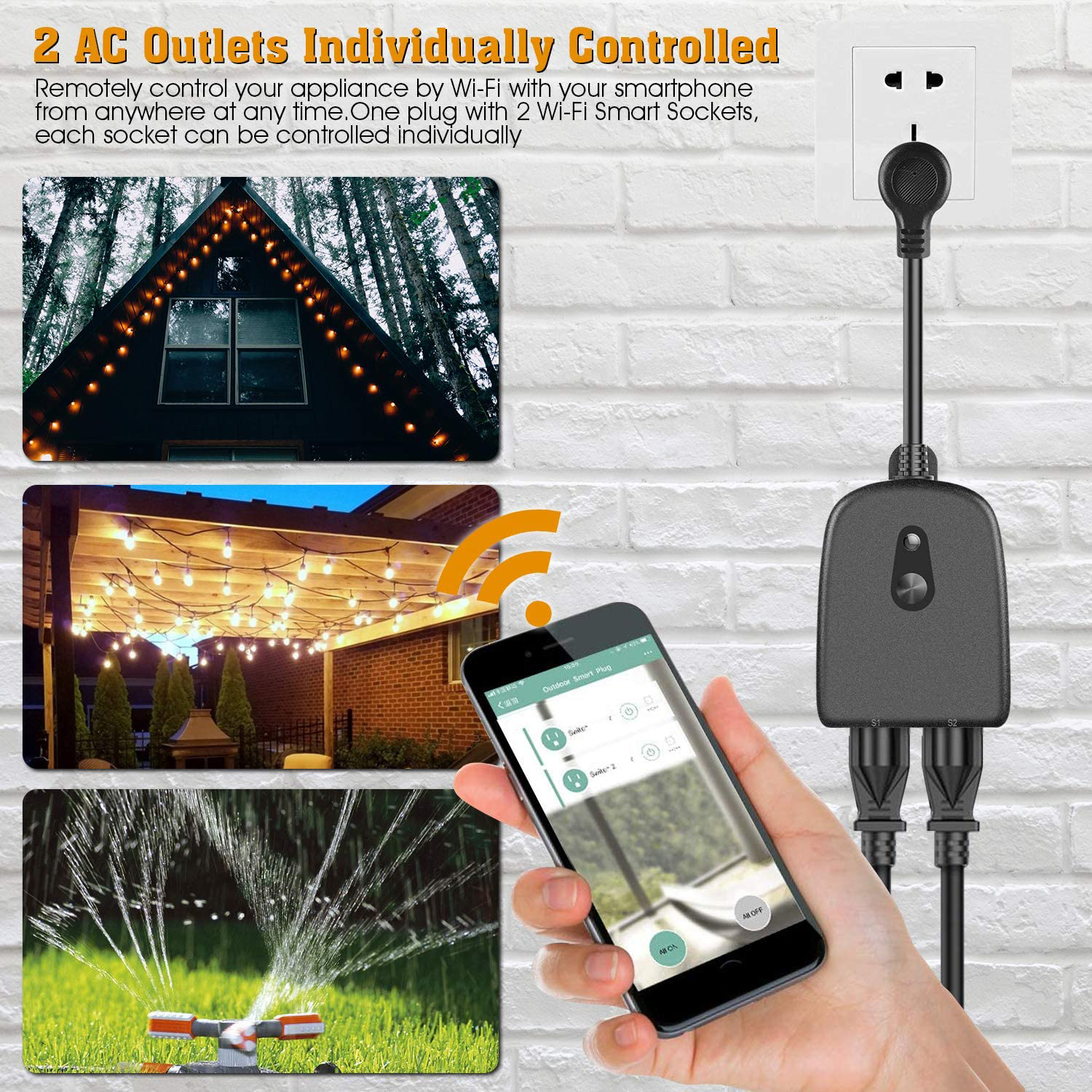 WiFi Outlet with 2 Sockets Wireless Remote Control Timer ...