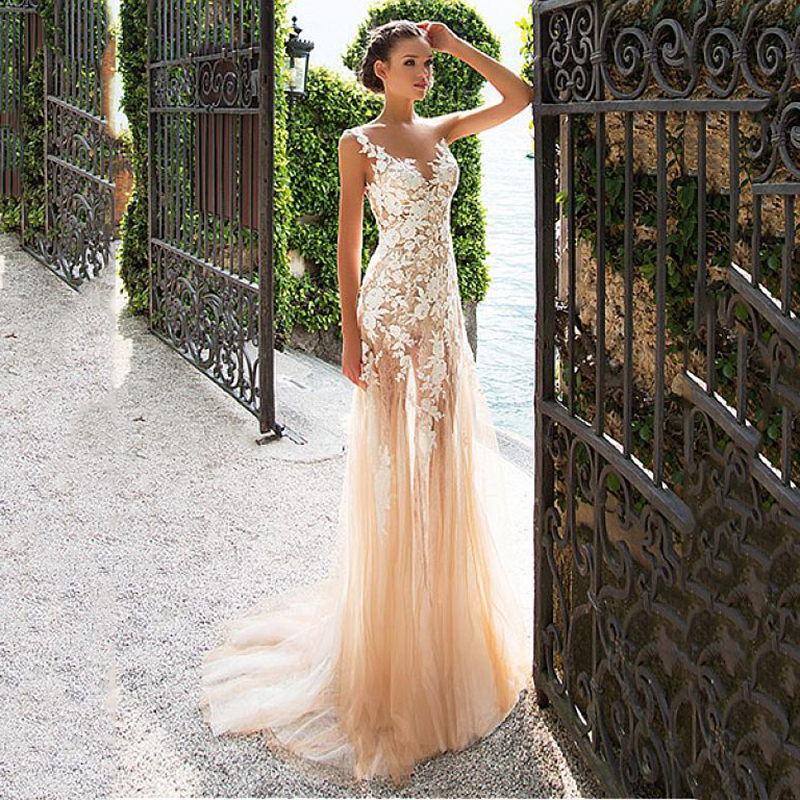 Boho Lace Appliques Wedding Dresses Flora Flower See-through Back Champagne Tulle Beach Bridal Dress Wedding Gowns Princess