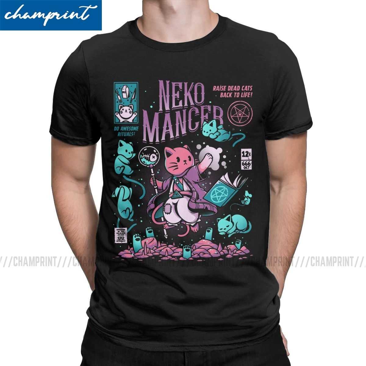 Neko Mancer T Shirt Women Casual Aesthetic Witch Satantic Gothic Goth Tops Nice