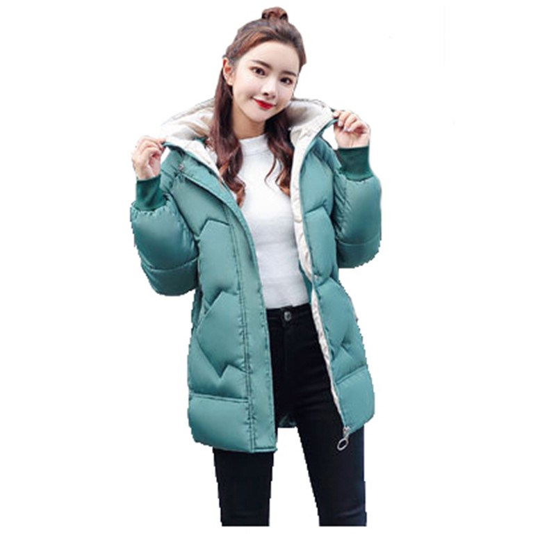 Winter women's cotton jacket Europe America 2019 new M-2XL plus size loose thin white green black leisure   parka   coat women JD523