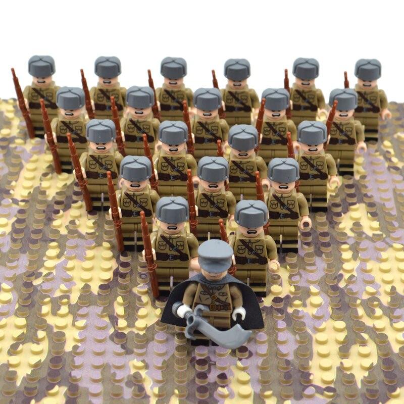 21 unids/set bloques de Segunda Guerra Mundial juguetes soldados del ejército de Rusia diseño militar Construcción de ladrillos para niños