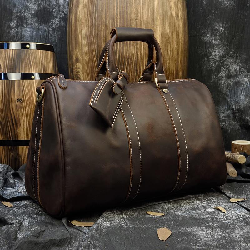 Luufan bolso de viaje de cuero genuino bolso de viaje de piel Real bolsos de viaje Weekender bolsa de llevar en el equipaje de hombre bolsos de lona de cuero Masculino-in Bolsas de viaje from Maletas y bolsas    2