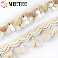 5Yards Meetee 5.5cm\6cm White Cotton Tassel Lace Webbing Fabric Handmade Beaded Ball Diy Clothing Decoration Sewing Accessories