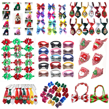 50pcs Pet Dog Accessories Christmas Hair Bowtie/Bandana Xmas Party Cat Grooming Products