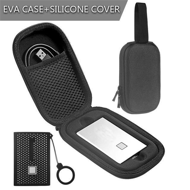 Eva 収納保護ケース T7 タッチポータブル ssd 外部ソリッドステートドライブキャリングケースバッグシリコーンカバー