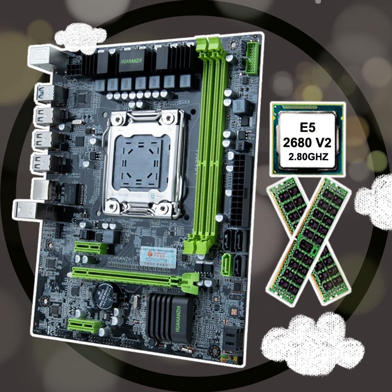 HUANANZHI X79 LGA2011 Motherboard CPU RAM Combo Discount M-ATX Motherboard With CPU Intel Xeon E5 2680 V2 RAM 32G(2*16G) RECC