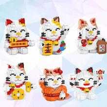 hot LegoINGlys creators New Year Gifts Lovely Cartoon Luck Cat Micro Diamond Building Blocks model Nano bricks toys for gifts