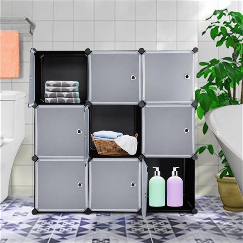 DIY Plastic Wardrobe Cupboard Closet Cabinet Organizer Storage Shelves with Door