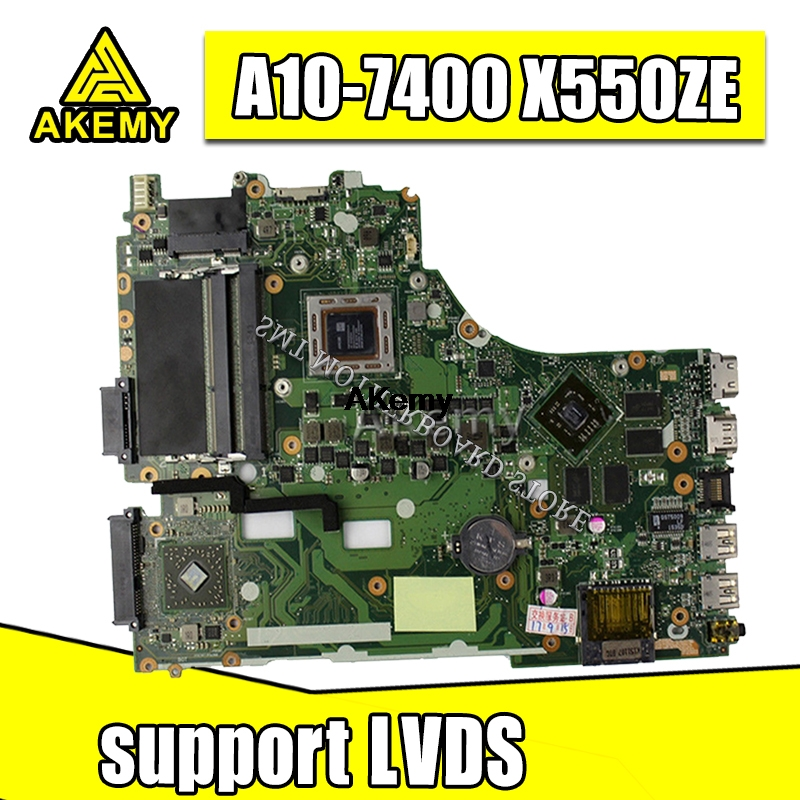 X550ZE Motherboard REV2.0 A10-7400 LVDS CPU Mainboard For ASUS X550Z X550ZE X550 X550ZA K550Z Laptop Motherboard Tested Working