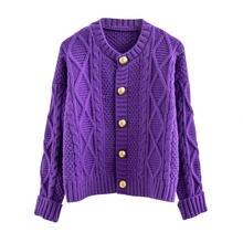 Короткий фиолетовый свитер кардиган женский свободный утепленный